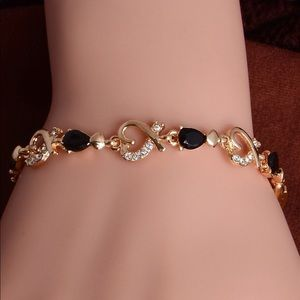 18k Gold Plated Heart And CZ Bracelet
